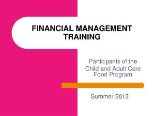 FINANCIAL MANAGEMENT TRAINING