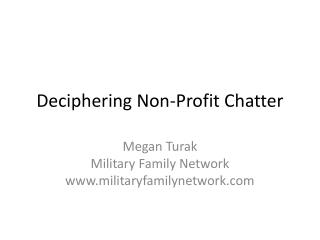 Deciphering Non-Profit Chatter