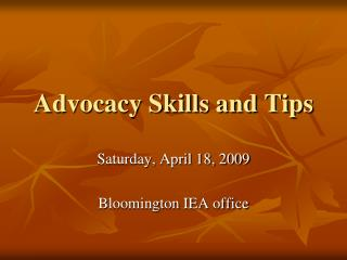 Advocacy Skills and Tips