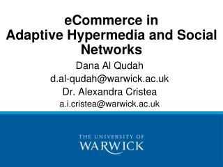 eCommerce in Adaptive  Hypermedia and Social Networks