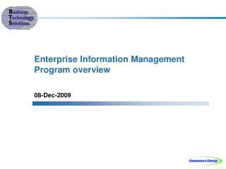 Enterprise Information Management Program overview