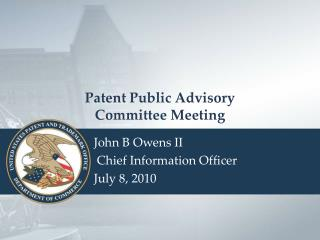 Patent Public Advisory  Committee Meeting