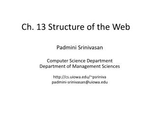 Ch. 13 Structure of the Web