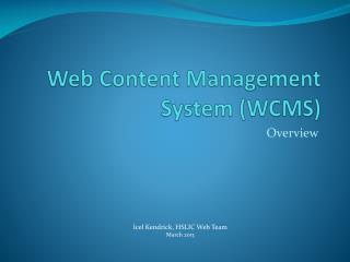 Web Content Management System (WCMS)