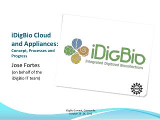 iDigBio Cloud and Appliances:  Concept, Processes and Progress