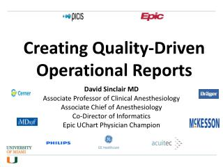 Creating Quality-Driven Operational Reports
