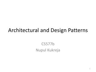 Architectural and Design Patterns