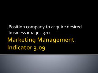 Marketing Management Indicator 3.09