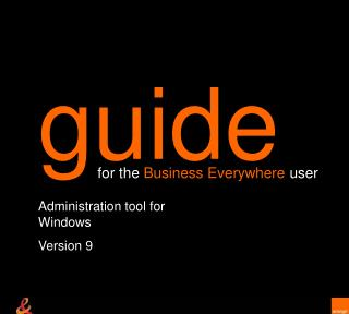 Administration tool for Windows Version 9