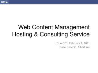 Web Content Management Hosting & Consulting  Service