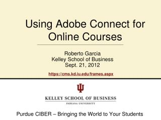 Using Adobe Connect for Online Courses
