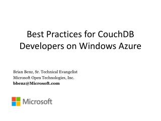 Best  Practices for CouchDB Developers on Windows Azure