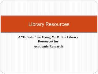 Library Resources