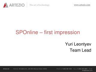 SPOnline  –  first impression