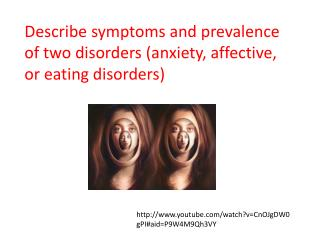 Describe symptoms and prevalence of  two disorders  (anxiety, affective, or eating disorders)