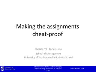 Making the assignments  cheat-proof