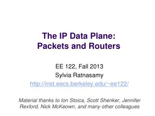 The IP Data Plane: Packets and Routers