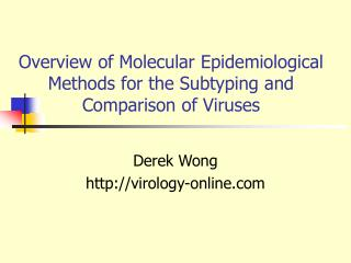 Overview of Molecular Epidemiological Methods for the Subtyping and Comparison of Viruses