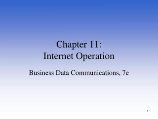 Chapter  11: Internet Operation