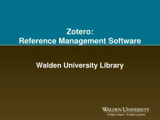 Zotero :  Reference Management Software