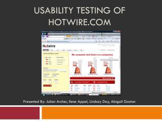Usability Testing of Hotwire.com