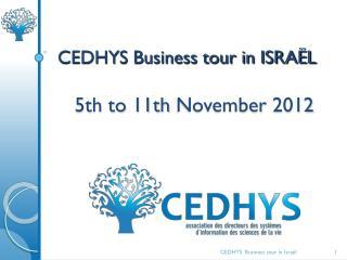 CEDHYS Business tour in ISRAËL