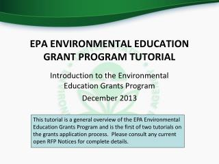 EPA ENVIRONMENTAL EDUCATION GRANT PROGRAM TUTORIAL