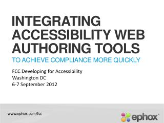 Integrating Accessibility Web Authoring Tools