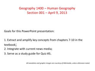 Geography 1400 – Human Geography Section 001 – April 9, 2013