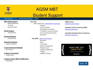 AGSM MBT  Student Support
