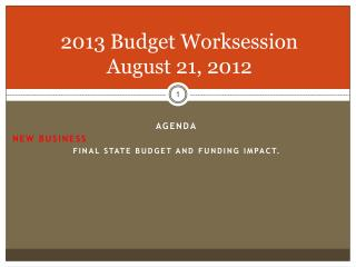 2013 Budget  Worksession  August 21, 2012