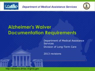 Alzheimer's Waiver Documentation Requirements