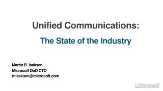 Unified Communications: The State of the Industry