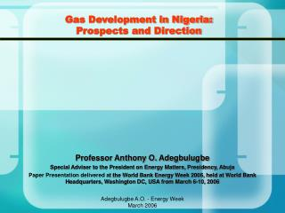 Gas Development in Nigeria: Prospects and Direction