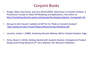 Conjoint Books