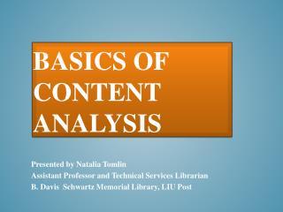 Basics of content analysis