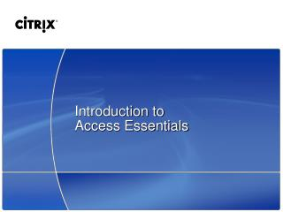 Introduction to Access Essentials