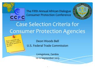 Case Selection Criteria for Consumer Protection Agencies