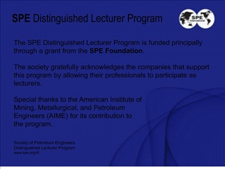 SPE Distinguished Lecturer Program