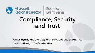 Compliance, Security and Trust