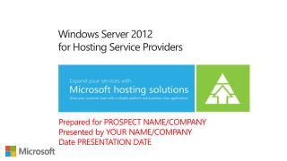 Windows Server 2012 for Hosting Service Providers
