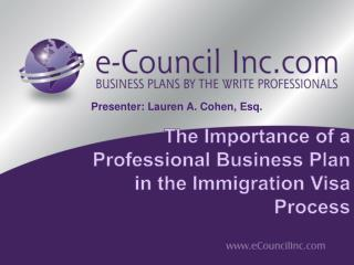 The Importance  of a  Professional  Business  Plan in the Immigration Visa Process