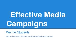 Effective Media Campaigns