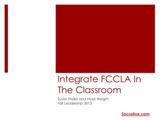 Integrate FCCLA In The Classroom