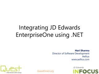 Integrating JD Edwards EnterpriseOne using .NET
