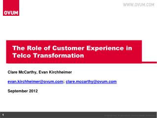 The Role of Customer Experience in Telco Transformation