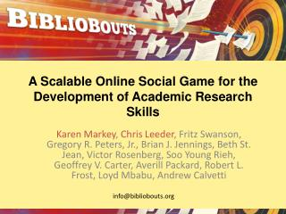 A Scalable Online Social Game for the Development of Academic Research Skills