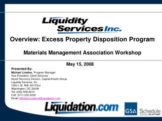 Overview: Excess Property Disposition Program Materials Management Association Workshop