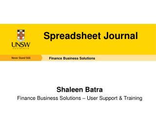Spreadsheet Journal