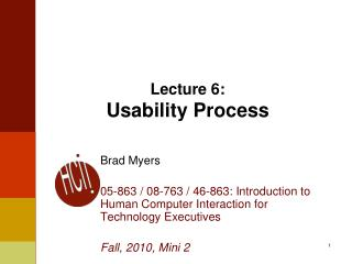 Lecture 6: Usability Process